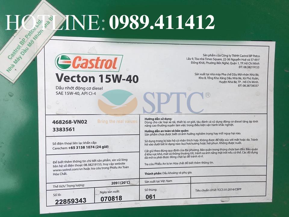 Tiêu chuẩn kỹ thuậtcủa Dầu nhớt động cơ Castrol Vecton 15W40