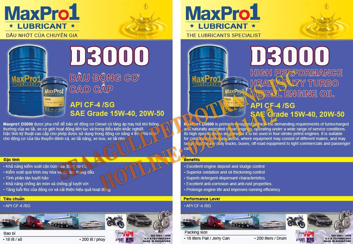 Dầu nhớt động cơ Diesel cao cấp MaxPro1 D3000 20W-50