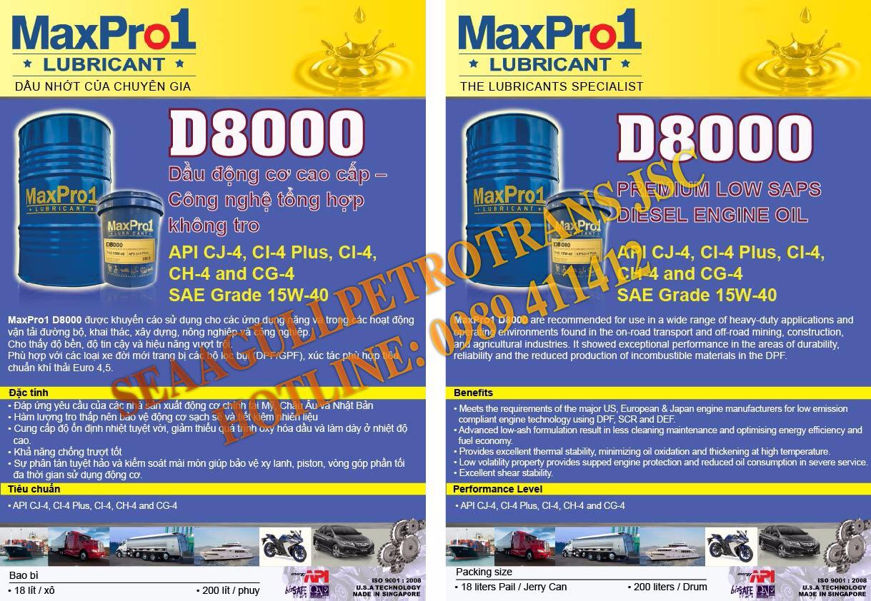 Dầu nhớt động cơ Diesel cao cấp MaxPro1 D8000 15W-40