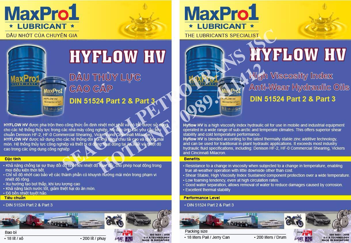 Dầu thủy lực cao cấp MaxPro1 Hyflow HV 32/46/68